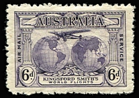 Lot 288 [1 of 4]:1929 WA Centenary 1½d pair, one unit Re-entry ('T' of 'Australia' clearly doubled), 1931 Kingsford Smith 3d pair, one unit Plane dropping bomb, 6d Re-entry 'FO' and 'LO', another with Extra Islands varieties. Very lightly mounted. (6)