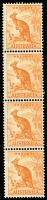 Lot 300:1938-56 ½d Orange Kangaroo vertical strips of 4, 6, 8 & 16 consisting of 17 coil pairs. Very fragile. BW #179bb, Cat $425. (34)