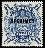 Lot 319 [2 of 4]:1949-50 Arms Overprinted 'SPECIMEN' very lightly mounted, plus 5/- CTO. BW #269s-71s, Cat $. (4)