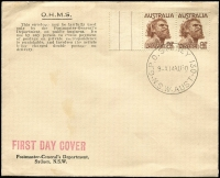 Lot 1214:1950 8½d Aborigine pair on 'OHMS' envelope tied by 'G.P.O. SYDNEY 130/9-A14AU50/N.S.W.-AUST' cds, unaddressed, unsealed. Minor blemish.
