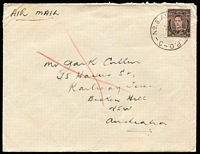 Lot 692 [2 of 2]:1946 (5 Dec) Cover with Australian KGVI 3d tied by 'No.8 AUST.AUST BASE.P.O./-C-' containing specially printed BCOF Christmas card. (2 Items)