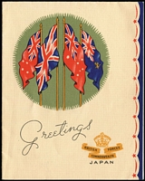 Lot 692 [1 of 2]:1946 (5 Dec) Cover with Australian KGVI 3d tied by 'No.8 AUST.AUST BASE.P.O./-C-' containing specially printed BCOF Christmas card. (2 Items)