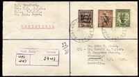 Lot 695:1948 (2 Oct) Registered Cover to Queensland with 3d, 6d & 1/- tied by strikes of 'AUST UNIT POSTAL STN/497' cds alongside 'Aust. Army Postal Service/UPS/497' regn handstamp. Appropriate datestamps on reverse.