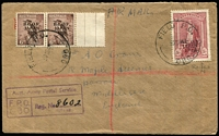 Lot 1053:1948 (30 Sep) Registered Cover to GB with 6d Kooka marginal pair & 5/- Robes (with Raised 'N' in 'JAPAN') all tied by strikes of 'FIELD P.O./080' cds alongside boxed 'Aust. Army Postal Service/F.P.O./080' registered handstamp. On reverse 'A.F.P.O. No. 30/R.A.A.F. JAPAN' & 'No. 8 AUST BASE P.O.' cds. Rare variety on cover.