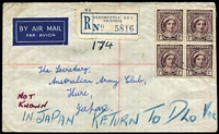 "Lot 1052:1948 (4 Mar) Registered Cover from Glenthuntly to Kure with mss ""NOT KNOWN"" in red, & ""IN JAPAN RETURN TO DLO VIC"" in blue and on reverse, eight datestamps incl 'AUST BASE P.O.', 'AUST UNIT POSTAL STN', 'REGISTERED/MELBOURNE' in black and 'DEAD LETTER OFFICE' in red."