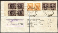 Lot 696:1949 (7 Feb) Registered Cover to Brisbane with ½d pair & 1d (6, incl pair & marginal block of 4) tied by strikes of 'AUST ARMY P.O./215' cds alongside boxed 'Aust. Army Postal Service' regn handstamp.