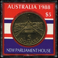 Lot 156 [5 of 6]:World: incl Australian selection with 1937 5/-, 1988 $5 Parliament House (2, one in plastic case), 1994 Perth Mint silver Medallions in plastic casing (2), several other medallions incl 1970 State Bank of Vic Cook Centenary, 1980 12th Asia Pacific Scout Conference, Melbourne, also China 10 coins from 1644-1911 attached to special card, GB 1971 1st Decimal coin set, Malaysia set of coins (6) 1c to $1 in folder, and few bank notes incl HK 1992 $100, US$1, Vietnamese 200 Dong (4). Mixed condition. (20+ Items)