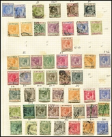 Lot 1404 [1 of 3]:1880s-1980s Collection on leaves with QV to 12pi mint, 18pi used, KEVII various to 18pi, KGV to 90pi (fiscal cancel), 1928 various British Rule to 45pi, 1934 Picts (11), KGVI 1938-51 Picts (19), 1948 Wedding (2), QE 1960-61 Opts (15), 1964 Games M/Ss (2, one CTO), range of later commem & defin sets, many MUH. Mixed condition, mostly in earlies. STC £2,600. (100s )