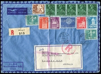 Lot 2 [2 of 4]:Accumulation incl Australia decimals face value $45+, few FDCs, tatty 1919 OHMS cover Castlemaine to Campbell's Creek bearing ½d green perf 'OS' strip of 3, and few overseas covers incl Belgium 1960 commercial airmail cover with 139f, Cook Islands 1986 Queen Mother M/S & 1990 Olympics unaddressed FDCs. etc. Mixed condition. (50+ covers)