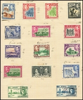 Lot 13 [1 of 4]:British Commonwealth in album incl Canada, Fiji KGVI Blue Canes, Gibraltar 1953-59 5/-, 10/- (2), Nauru Ships to 1/, 10/-, New Zealand, PNG 1952-68 Picts to £1, many other countries. Generally fine.