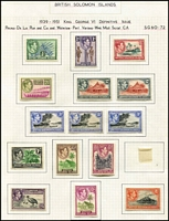 Lot 23 [2 of 2]:British Solomons 1937-49 KGVI Issues complete incl Definitive perf changes. Cat £120+. (27)