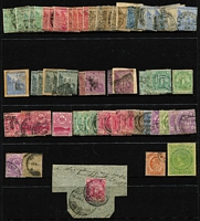 "Lot 36 [2 of 2]:Cape of Good Hope 1850s-1904 Collection incl Triangles 1d (2), 4d (3), 6d (4) & 1/- with margins at places, selection of 'Hopes', 1884-90 ½d black (block of 4, 2 units MUH), KEVII range to 5/- & piece with 1d tied by 'British Army Field PO' & mss inscripton ""No other stamps available (signature- Leisk?) Lt HLI"". Generally fine. (100)"
