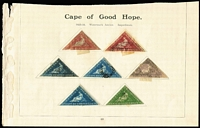 "Lot 36 [1 of 2]:Cape of Good Hope 1850s-1904 Collection incl Triangles 1d (2), 4d (3), 6d (4) & 1/- with margins at places, selection of 'Hopes', 1884-90 ½d black (block of 4, 2 units MUH), KEVII range to 5/- & piece with 1d tied by 'British Army Field PO' & mss inscripton ""No other stamps available (signature- Leisk?) Lt HLI"". Generally fine. (100)"