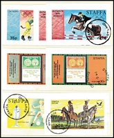 Lot 29 [2 of 4]:Cinderellas Labels-5 albums sparsely filled of world airmail labels incl many US etc, Express labels, Registered labels, plus a selection of Scottish (Staffa & Eynhallow) & Swedish (Isö) locals. Mixed condition. HEAVY LOT. (100s)