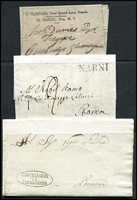 Lot 22 [4 of 5]:Europe Covers 1805-1861 stampless entires or part entires to or from Austria, France, GB, Italy, Netherlands or Switzerland with good selection of transit markings. Mixed condition. (24 Items)