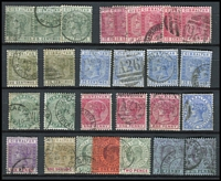 Lot 41 [2 of 3]:Gibraltar 1881-1950 Collection incl few QV incl GB 2½d blue Pl. 23, 1886 Opt on 2½d (possible blue-black opt, thinned), few later to 1/-, range of KGV to 2/-, KGVI Pictorial extensive range with various perfs to 2/- (5), 5/- (3) & 10/-, Generally fine. (Approx 180)