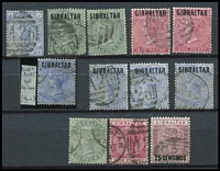 Lot 41 [1 of 3]:Gibraltar 1881-1950 Collection incl few QV incl GB 2½d blue Pl. 23, 1886 Opt on 2½d (possible blue-black opt, thinned), few later to 1/-, range of KGV to 2/-, KGVI Pictorial extensive range with various perfs to 2/- (5), 5/- (3) & 10/-, Generally fine. (Approx 180)