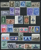 Lot 45 [2 of 3]:Italy 1949-52 commemoratives selection incl 1949 2nd World Health Conference, 1950 Holy Year (2), D'Arezzo, 1950 European Tobacco Conference, 1951 Tuscan Stamp Centenary (2), Triennial Art Exhib 55l, Sardinian Stamp Centenary (3), also 1950 Provincial Occupations (ex 35l), 1950 International Radio Conference. Cat Approx £1,400. (56)