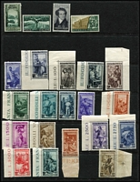 Lot 45 [3 of 3]:Italy 1949-52 commemoratives selection incl 1949 2nd World Health Conference, 1950 Holy Year (2), D'Arezzo, 1950 European Tobacco Conference, 1951 Tuscan Stamp Centenary (2), Triennial Art Exhib 55l, Sardinian Stamp Centenary (3), also 1950 Provincial Occupations (ex 35l), 1950 International Radio Conference. Cat Approx £1,400. (56)