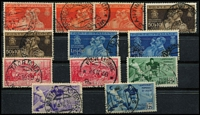 Lot 47 [1 of 3]:Italy Pre-1945 commem selection on stockcards incl 1934 Fiume Air Express 2.25l+1.25l, various other issues, also few later incl 1951 1st Tuscan Stamp (2). (140+)