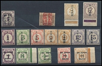 Lot 51 [2 of 2]:Japanese Occupation of Malaya Postage Due selection with issues from Malayan Postal Union 1942 Dai Nippon Opts 1c to 10c, SG JD28-32, 1943-45 1c to 15c (ex 4c) SG JD34-41, Johore incl 1942 (1 Apr) 1c & 12c SG JD1a, 5a, Trennganu, some with the usual toned gum. STC Cat £300+ (17)