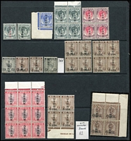 Lot 53 [2 of 4]:Japanese Occupation of Malaya with selection from Negri Sembilan 1942-44 1c black, opt inverted, 25c marginal block of 9, Pahang, Perak, Selangor 1942 Agri-horticultural Exhibition Opt on 8c grey, Straits Settlements, etc, several sideways 2nd character, other opt varieties incl Opt inverted. Some gum toning as usual. Mixed condition. (125+ )