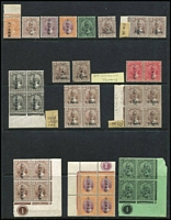 Lot 53 [1 of 4]:Japanese Occupation of Malaya with selection from Negri Sembilan 1942-44 1c black, opt inverted, 25c marginal block of 9, Pahang, Perak, Selangor 1942 Agri-horticultural Exhibition Opt on 8c grey, Straits Settlements, etc, several sideways 2nd character, other opt varieties incl Opt inverted. Some gum toning as usual. Mixed condition. (125+ )