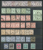 Lot 88:Malaya Postage Dues selection of Malayan Postal Union issues incl 3c (10), 5c (13), 8c (7), 20c (6), 50c plus several Straits Settlements 'Entertainments Duty' stamps. Min cat £175. Generally fine. (50+)