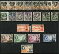 Lot 73 [3 of 4]:Northern Rhodesia 1925-63 Collection on 12 Hagners incl KGV Defins Various incl 2/6d (2) 10/- (possible fiscal), 1937 Coronation (3 sets), 1938-52 Defins incl 2/6d, 3/-, 5/- (3), 10/- (2), 1946 Victory (5 sets plus P13½ 1½d (2 used, one MLH)), 1953 Rhodes (2 sets), 1953 Defins to 2/6d, also 1937 plain cover with Coronation set FDI to Ireland, 1949 UPU FDC, 1952 Aust-Sth Africa Flight cover with cachet to Nthn. Rhodesia c1953 QE 6d Aerogramme, unused. Some duplication throughout. (300+ & 5 covers)