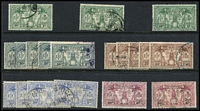 Lot 70 [2 of 4]:Pacific Islands Collection on 36 Hagners incl Cook Islands 1935 Jubilee 6d Narrow 'N' in King, Gilberts, New Hebrides British incl various 1911 to 1/-, few 1920 Surcharges, various 1925 Defins 1d (10c) green (3), 2½d (25c) brown (4), 6d (60c) purple (2), 1963-72 50c & 2f (both MUH),1972 Picts (2 sets), French 1925 30c (3d) red, 2f (1/8d), 1975 10f Bull, 1974 Cook (4), Niue KGV Picts to 1/-, Samoa, Solomons few Small Canoes to 6d, 1939-51 10/-, 1956-63 10/-, etc. (100s,)