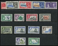 Lot 70 [1 of 4]:Pacific Islands Collection on 36 Hagners incl Cook Islands 1935 Jubilee 6d Narrow 'N' in King, Gilberts, New Hebrides British incl various 1911 to 1/-, few 1920 Surcharges, various 1925 Defins 1d (10c) green (3), 2½d (25c) brown (4), 6d (60c) purple (2), 1963-72 50c & 2f (both MUH),1972 Picts (2 sets), French 1925 30c (3d) red, 2f (1/8d), 1975 10f Bull, 1974 Cook (4), Niue KGV Picts to 1/-, Samoa, Solomons few Small Canoes to 6d, 1939-51 10/-, 1956-63 10/-, etc. (100s,)