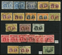 Lot 81 [3 of 6]:Rhodesia 1892-1982 Collection on 25 Hagners incl 1896-97 Die I various to 1/- (6), Die II ½d (7), 1d (4), 2d (4), 4d (15), 6d (10) 2/-, 5/- & 10/- (2, one fiscal), 1896 BSA opts to 6d, 1898 Arms various to 10/- (pair), 1909-12 Opts to 1/-, 1910-13 Double Heads range incl 3d (5), 4d (2), 5d (3), 6d, 1/-, 1913-19 Admirals range incl 2d (10), 3d (4), 4d (4), 6d (9), 1/- (2), 2/- & 2/6d (2). Later selection incl Rhopex M/S (3, on white or toned paper). Also 'MASHONALAND' Reply Paid Postal card & International PC, both unused. Very high catalogue value. Postmark interest in earlies. Generally fine. (100s)
