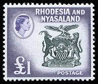 Lot 75 [1 of 3]:Rhodesia & Nyasaland 1954-63 issues incl coil perf changes, also 1961 Postage Dues (4), Cat £250+. (63)