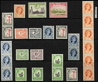 Lot 80 [1 of 4]:Rhodesia & Nyasaland 1954-63 Collection incl 1954-56 Defins to 10/- (with 6 additional used 5/-), 1959-62 Picts 5/-, 10/- (both MUH) plus hinged selection of lower values, 1960 Kariba Dam (3 sets incl 2 MUH), 1961 Postage Dues (4, MUH), also few coil pairs & strips, 1959 Victoria Falls registered FDC, 1959 FDC to Australia vith 10 values to 2/-, 1962 First Flight set (3) on BOAC special cover. (250+ & 4 covers)
