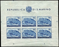Lot 83 [2 of 3]:San Marino 1949-50 UPU 100l 'Postage' & 200l Airmail sheetlets of 6 plus imperf 200l sheetlet of 6 with number on reverse. Cat £200++. (3)