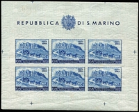 Lot 83 [3 of 3]:San Marino 1949-50 UPU 100l 'Postage' & 200l Airmail sheetlets of 6 plus imperf 200l sheetlet of 6 with number on reverse. Cat £200++. (3)