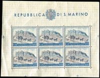 Lot 83 [1 of 3]:San Marino 1949-50 UPU 100l 'Postage' & 200l Airmail sheetlets of 6 plus imperf 200l sheetlet of 6 with number on reverse. Cat £200++. (3)