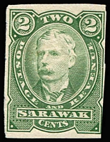 Lot 70 [2 of 3]:Sarawak 1895 2c perf plate proof in black (no gum), also in green (2, one MUH & one imperf, no gum). (3)