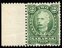 Lot 70 [3 of 3]:Sarawak 1895 2c perf plate proof in black (no gum), also in green (2, one MUH & one imperf, no gum). (3)