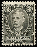 Lot 70 [1 of 3]:Sarawak 1895 2c perf plate proof in black (no gum), also in green (2, one MUH & one imperf, no gum). (3)
