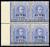 Lot 85:Sarawak 1923 1c on 10c 1st printing Bars 1¼mm apart, marginal block of 4. SG #72a.