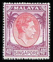 Lot 79 [1 of 2]:Singapore 1948-52 KGVI P17½x18 15c, 20c black & green, 40c, $1 (3), all unmounted, Cat £135. (6)