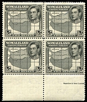 Lot 82 [1 of 2]:Somalia 1938 KGVI Pictorials 4 sets mostly in blocks of 4, (one set ex one 2a Sheep). Cat £600. (47)