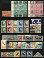 Lot 42 [1 of 3]:South Africa 1913-90s incl small study of 6d orange & green bi-linguals (40), few later commems & defin sets. Generally fine. STC £270. (150+ &4 4 M/Ss)