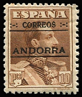 Lot 90 [1 of 2]:Spanish Andorra 1928 King Alfonso III Opts simplified SG #2A-13C, (Cat £580+ as cheapest) plus 1928 Express Letter 20c red (without Figures), hinge remains. Most appear to be genuine. Cat £700. (13)
