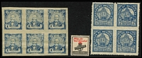 Lot 107 [3 of 4]:World incl Costa Rica, El Salvador, Germany range, Honduras selection of 1891-95 low values in blocks of 4 (some MUH), 1896 1c Arias imperf block of 6, 1927-29 6c blue imperf block of 4 with 'sewing machine' perforations (MUH) [see note after SG #258], plus 480 early to recent loose commems & defins in packets. Jamaica incl WWII St. Dunstan's 'Help the War Blinded' label. Manchukuo selection. USA 2016 Classics Forever sheetlets (2). Mixed condition. (100s)