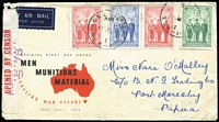 "Lot 98 [3 of 5]:World Covers mostly FDCs with Australia 1940 AIF sets on 2 Censored covers (not FD) both to Papua, 1962 Inland Mission FDC signed by ""Jean Flynn"", 1963 Tasman 4/- on Wesley FDC, Fiji, New Zealand, Norfolk Island, Papua 1938 Jubilee (5, on cover from Daru to NSW dated '16SE38' alongside typed 'FIRST DAY COVER'!!), PNG 1963 10/- FDC Rabaul to South Yarra, Pitcairn Islands 1965 ICY, 1966 Churchill, Tonga unusual Tin Can Mail cover, UN, USA. Mixed condition. (65+)"