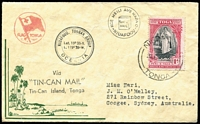 "Lot 98 [1 of 5]:World Covers mostly FDCs with Australia 1940 AIF sets on 2 Censored covers (not FD) both to Papua, 1962 Inland Mission FDC signed by ""Jean Flynn"", 1963 Tasman 4/- on Wesley FDC, Fiji, New Zealand, Norfolk Island, Papua 1938 Jubilee (5, on cover from Daru to NSW dated '16SE38' alongside typed 'FIRST DAY COVER'!!), PNG 1963 10/- FDC Rabaul to South Yarra, Pitcairn Islands 1965 ICY, 1966 Churchill, Tonga unusual Tin Can Mail cover, UN, USA. Mixed condition. (65+)"