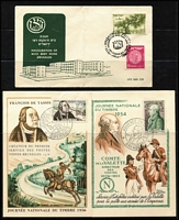 Lot 110 [2 of 3]:World Covers incl Australia (2), France 1950s Stamp Day cards (4), strength in GB FDCs (many from Medical firms 1970s-80s with single values), Israel few 1950s-60s FDCs some with tabs, etc. Several commem pmks throughout. Generally fine. (120+)