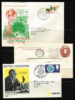 Lot 110 [3 of 3]:World Covers incl Australia (2), France 1950s Stamp Day cards (4), strength in GB FDCs (many from Medical firms 1970s-80s with single values), Israel few 1950s-60s FDCs some with tabs, etc. Several commem pmks throughout. Generally fine. (120+)